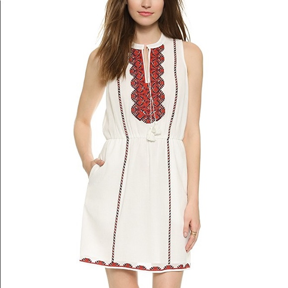 Madewell Dresses & Skirts - Madewell embroidered tassel red white dress